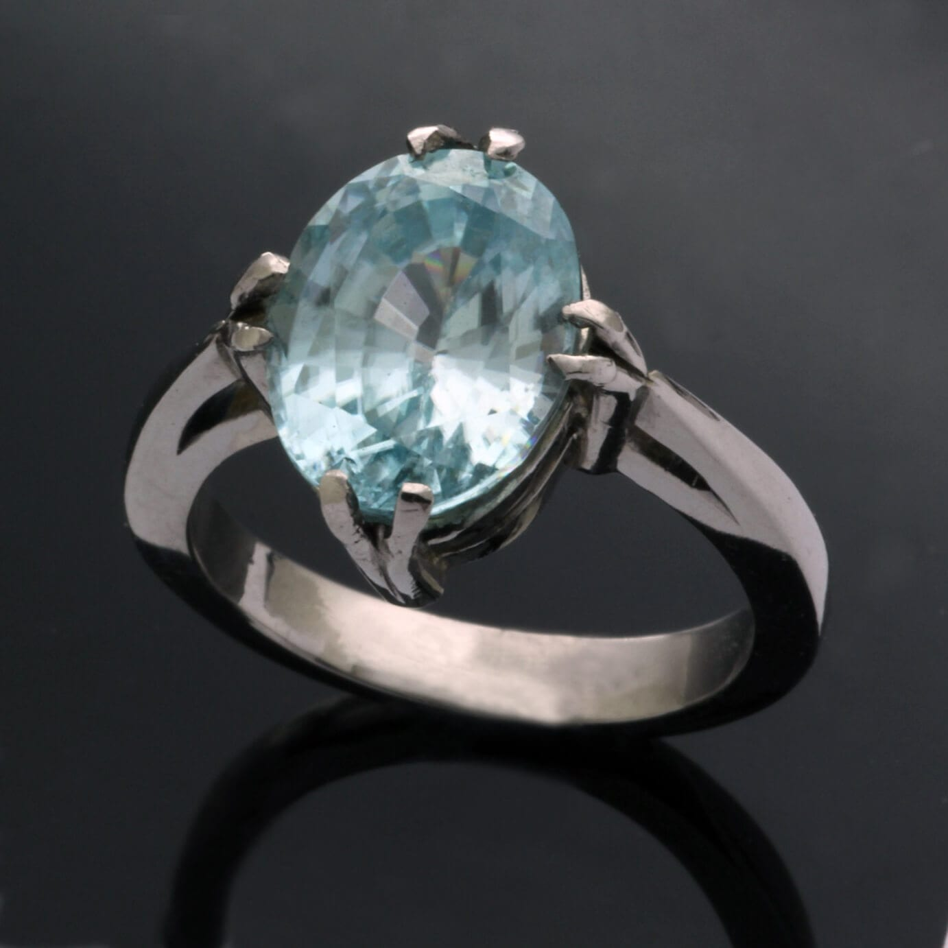 Sleek stylish contemporary Palladium and Zircon gem statement ring