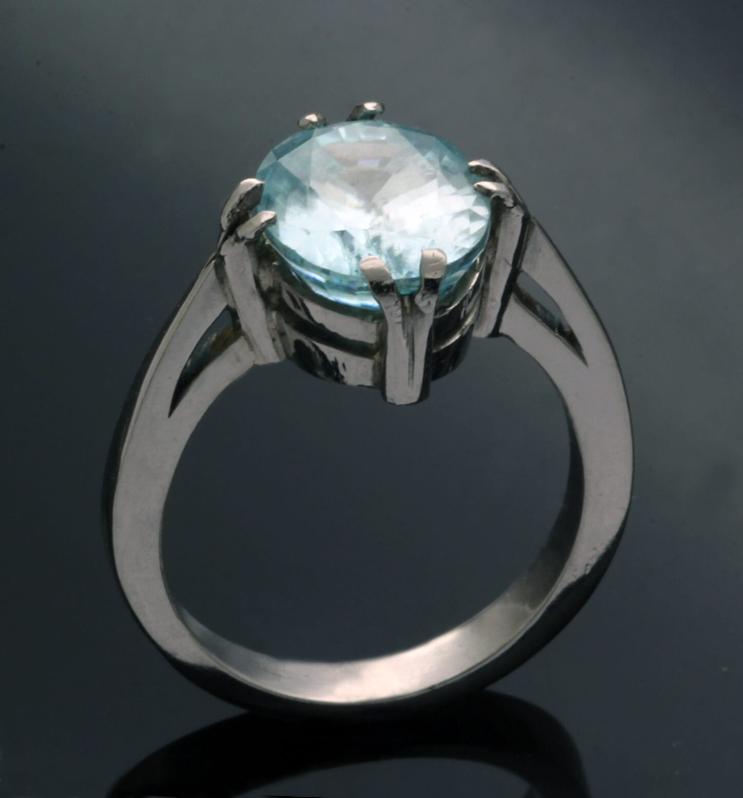Palladium statement ring with Zircon gemstone handcrafted
