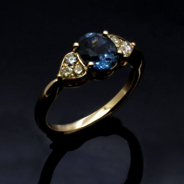 Bespoke handmade Sapphire and Diamond engagement ring
