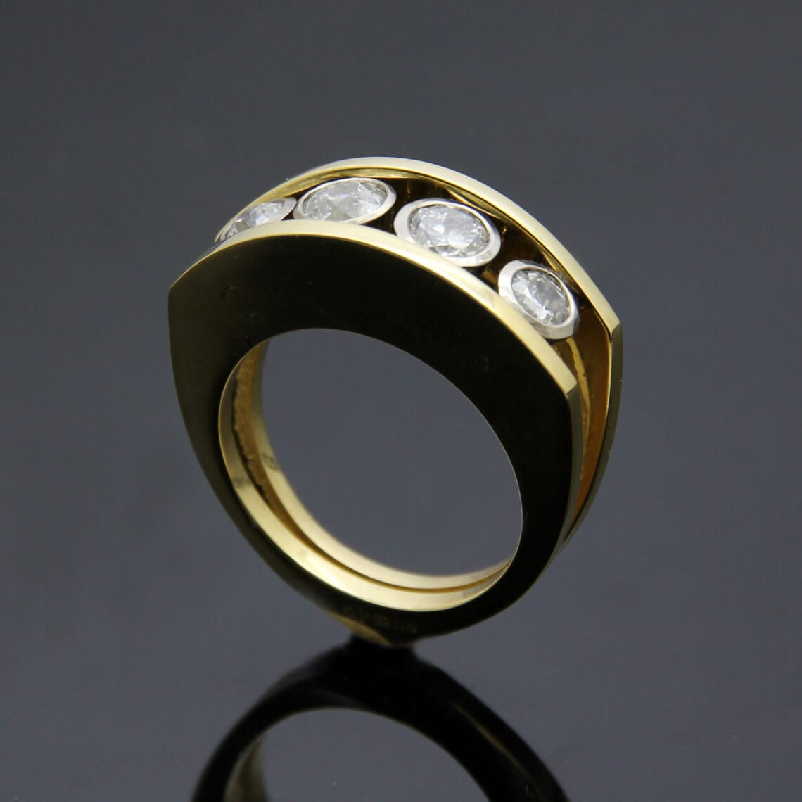 Bespoke custom made Diamond and Gold cocktail ring