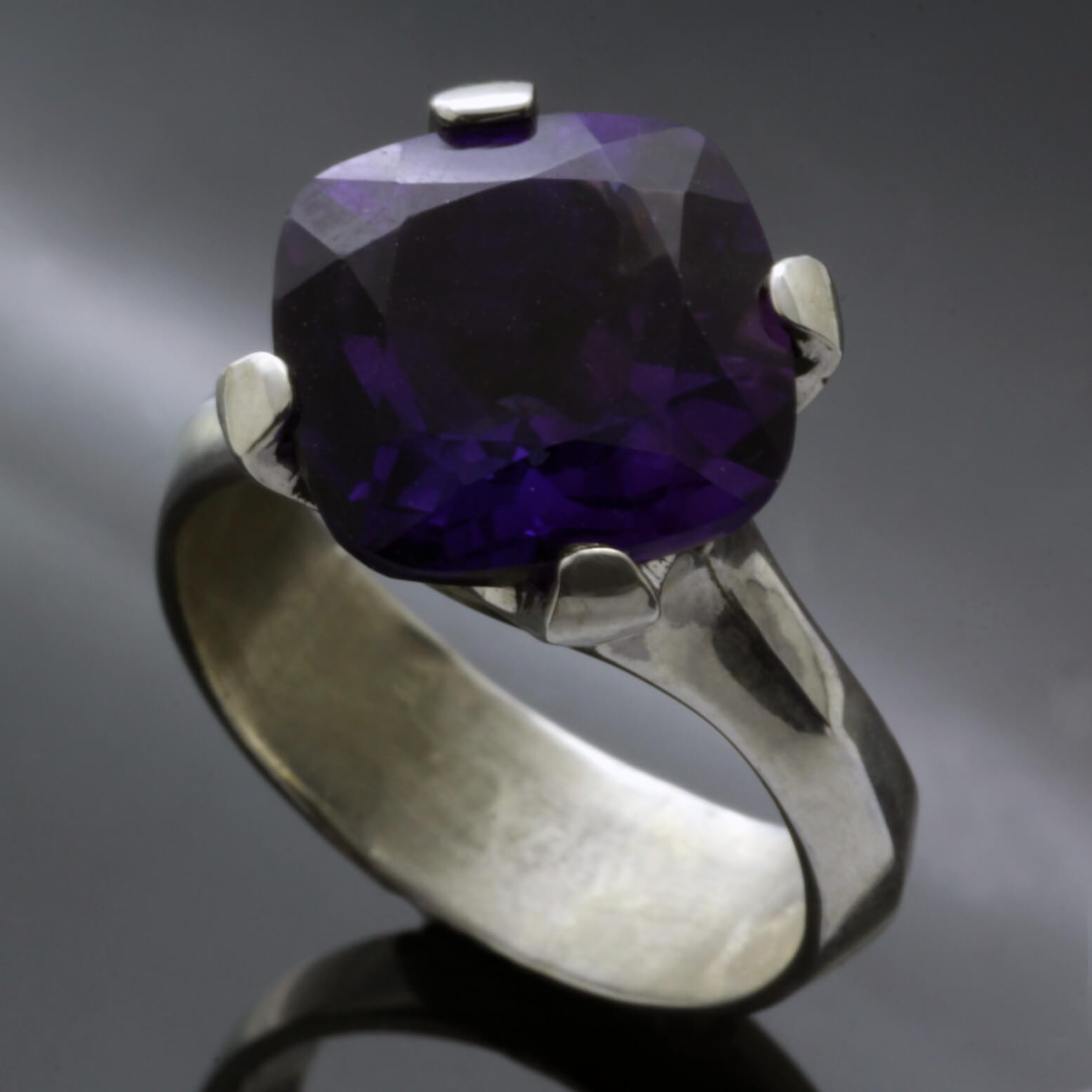 Modern handmade gemstone dress ring Cushion cut Amethyst Sterling silver