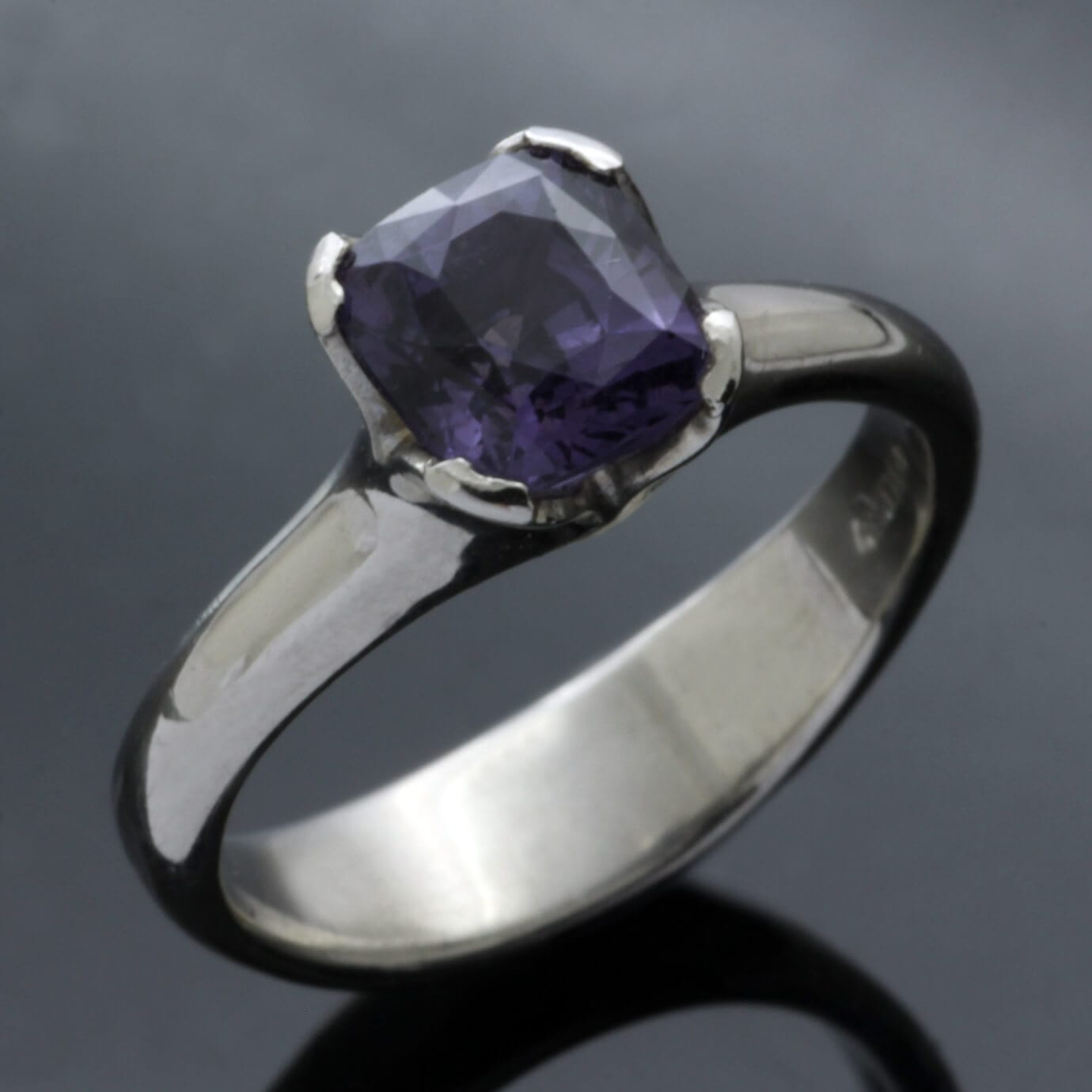 Unique Mauve Spinel Palladium handmade engagement ring