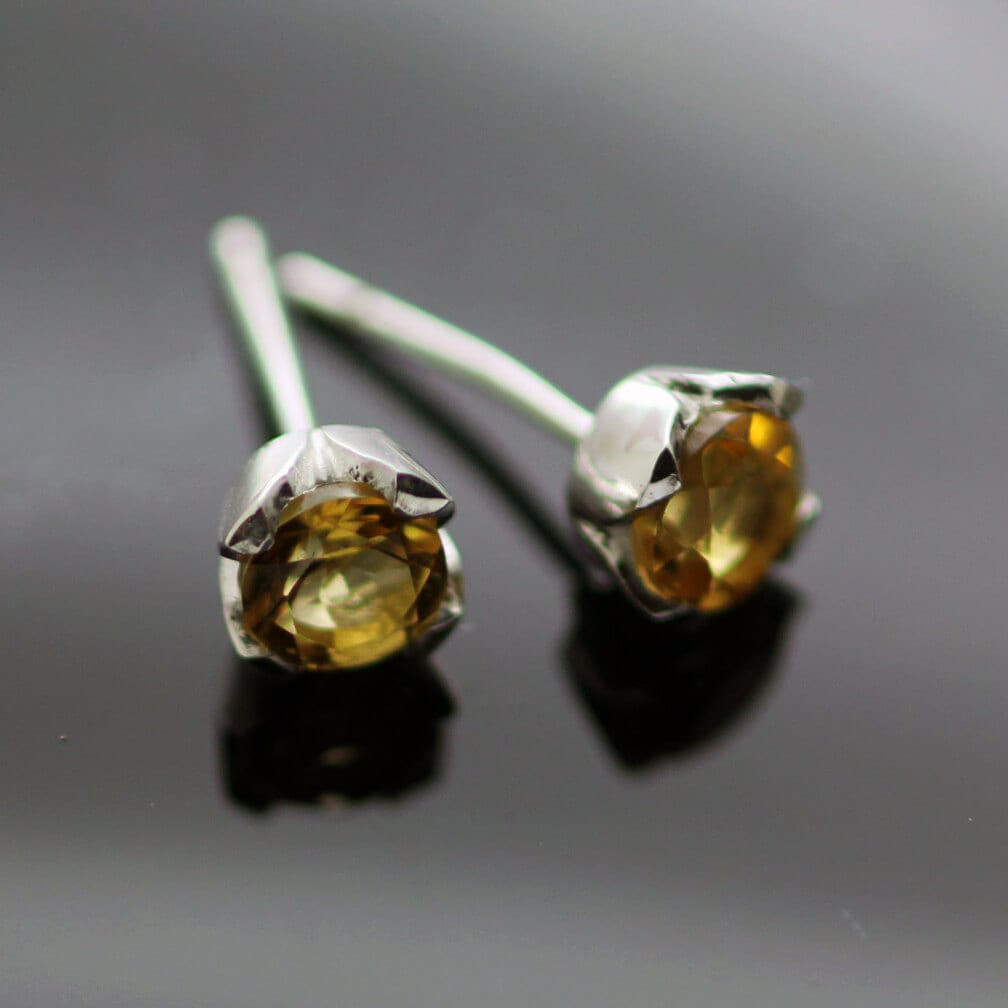 Round Brilliant cut Citrine gemstone sterling silver stud earrings
