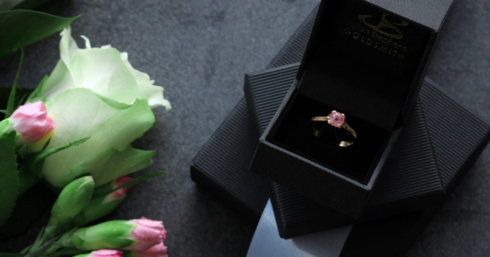 Modern Rose Gold Flower engagement ring set with Pink Sapphire