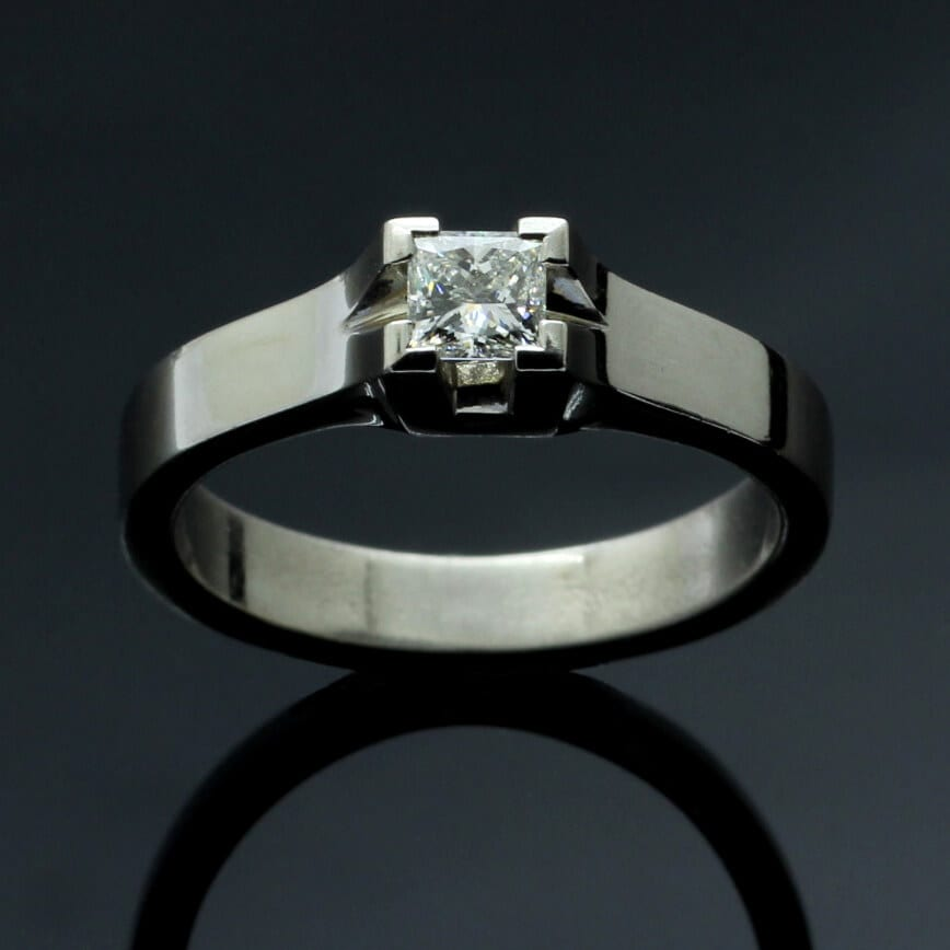 Barclay Princess Cut 0.42ct Diamond & 18ct White Gold engagement ring