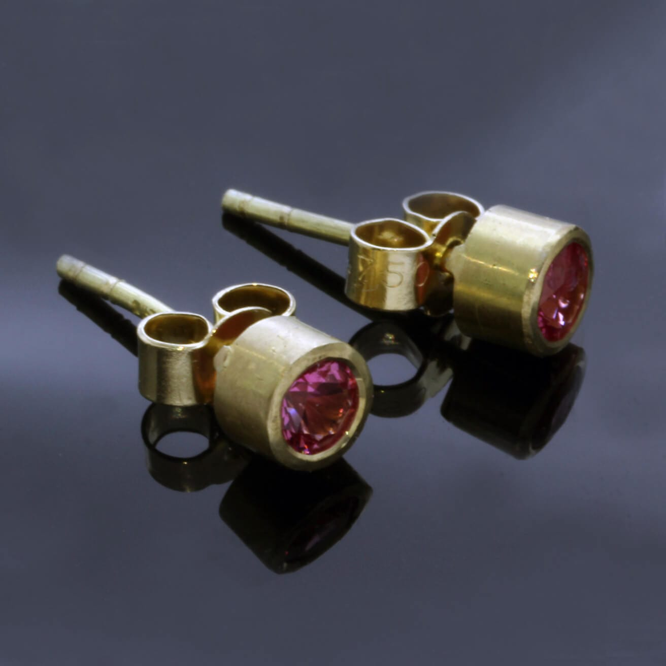 Pink Spinel handmade Yellow Gold stud earrings