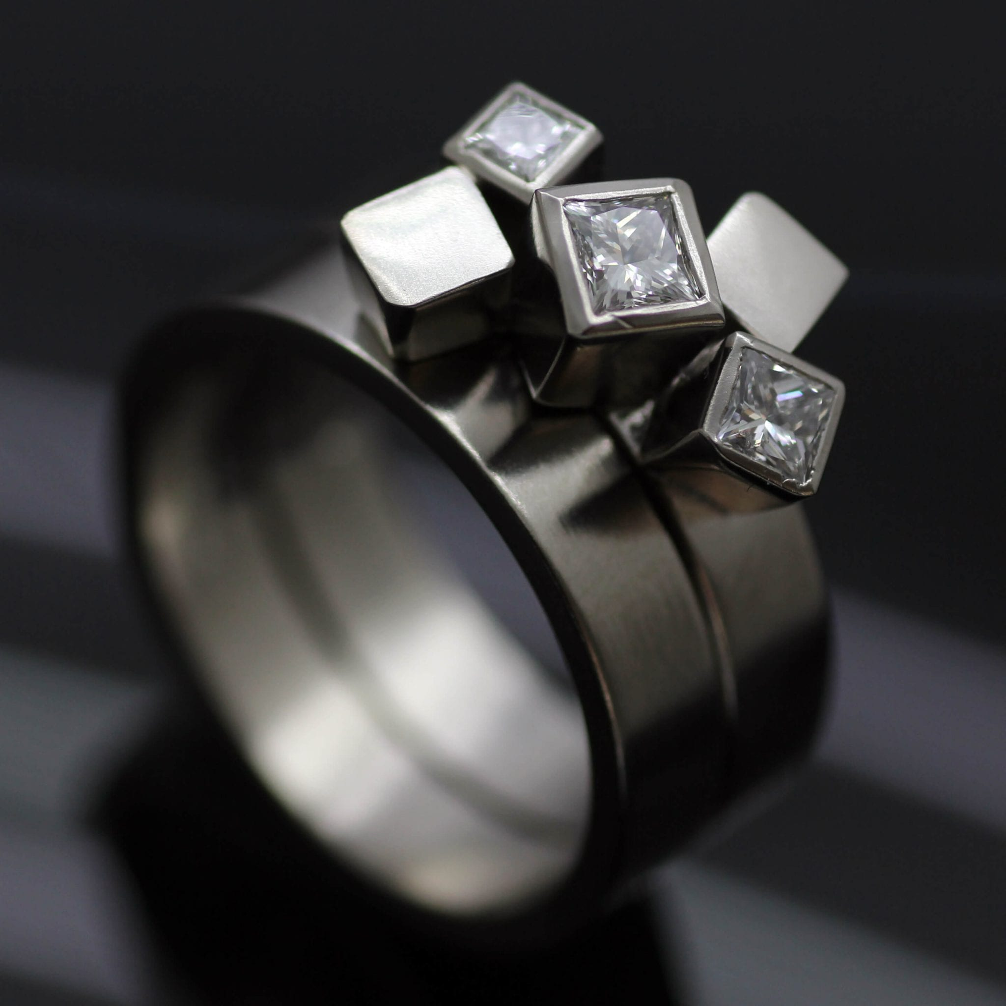 Contemporary Palladium and Diamonds stacking engagement and wedding ring design