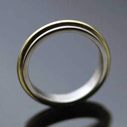 Contemporary 18ct White Gold 18ct Yellow Gold wedding ring handmade in Brighton