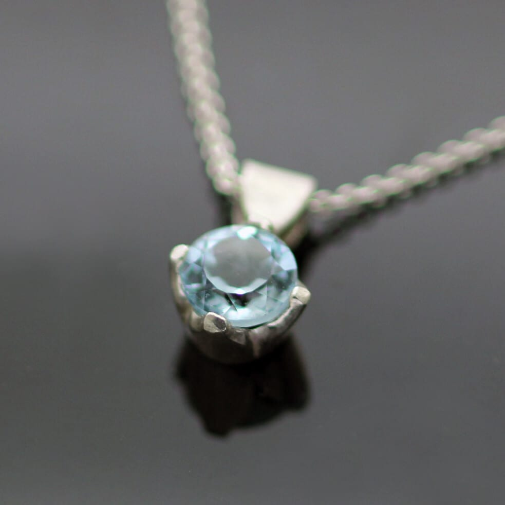 Handmade Blue Topaz Sterling Silver contemporary gemstone pendant
