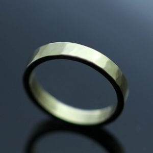 Hammered 9ct Yellow Gold 3mm flat band handmade