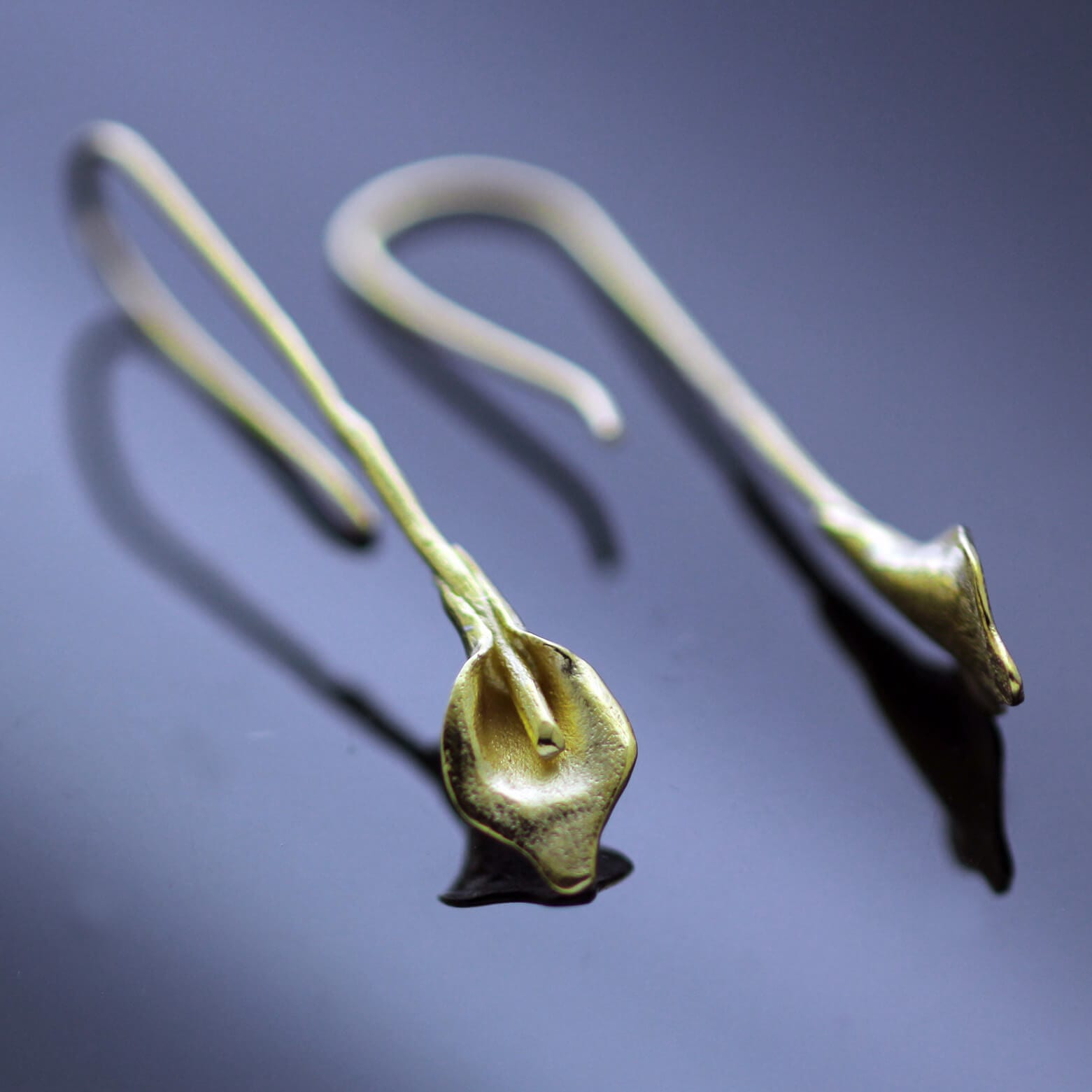 Floral Yellow Gold Calla Lilly droplet earrings