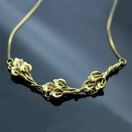 Handmade Yellow Gold plated Silver Calla Lilly floral necklace