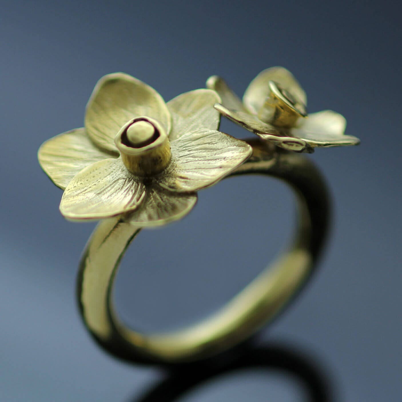 Modern Yellow Gold statement ring handmade