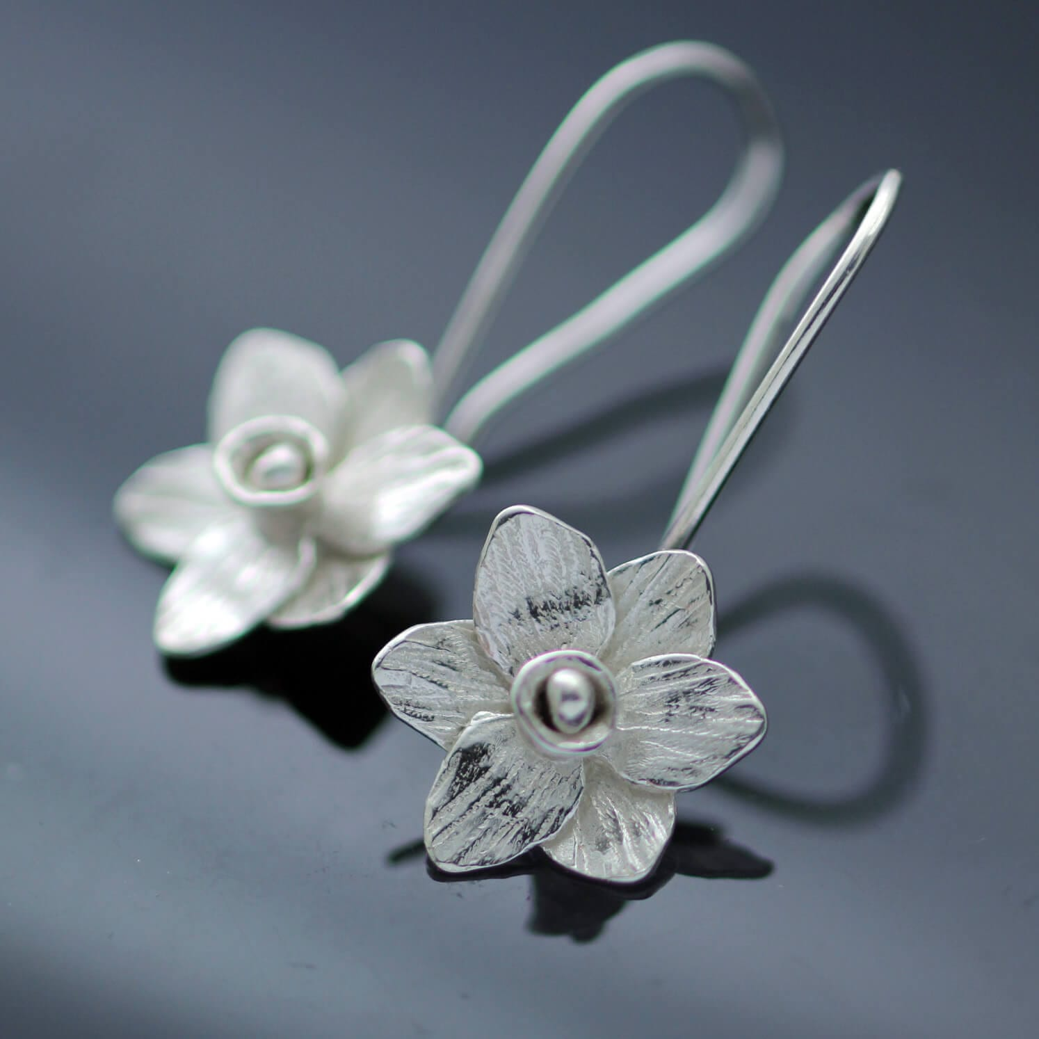 Unique modern floral dangle earrings sterling silver