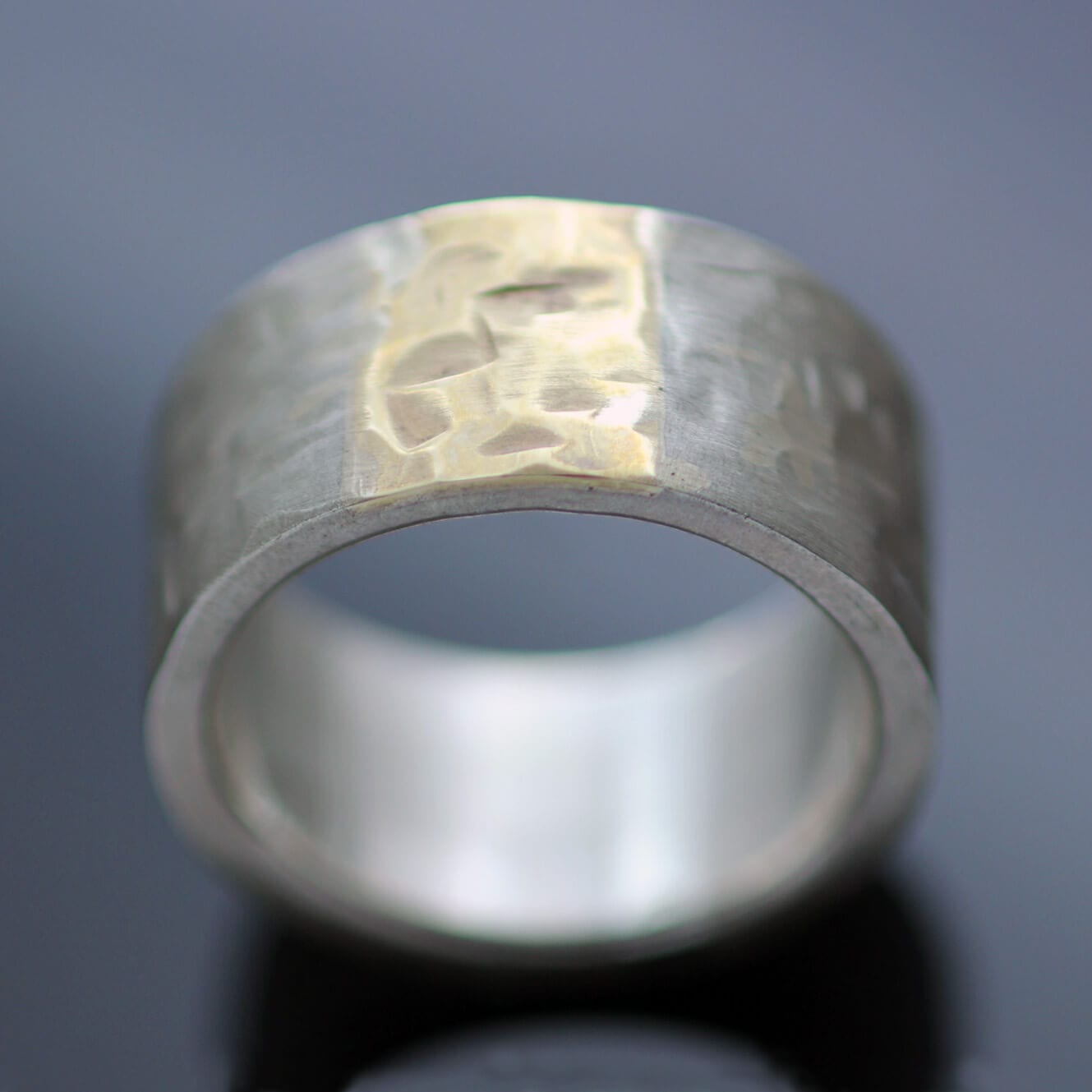 Silver Yellow Gold chunky ring handmade modern style