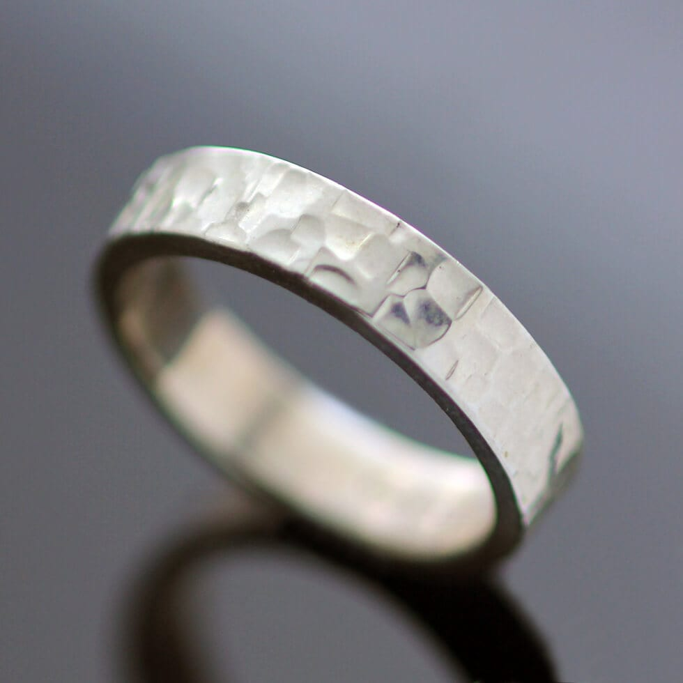 Sterling Silver textured flat ring modern style chunky ring