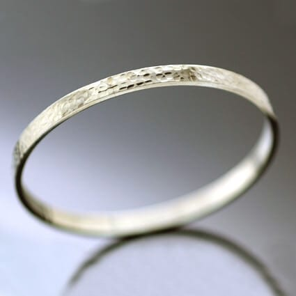 Unique hand made solid Silver stacking bangle textured finish