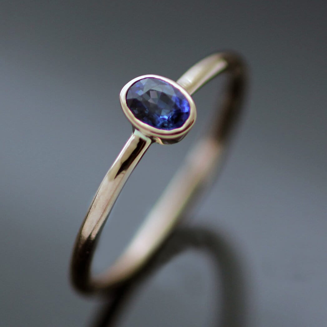 Gemstone stacking ring Rose Gold Oval Blue Sapphire gemstone