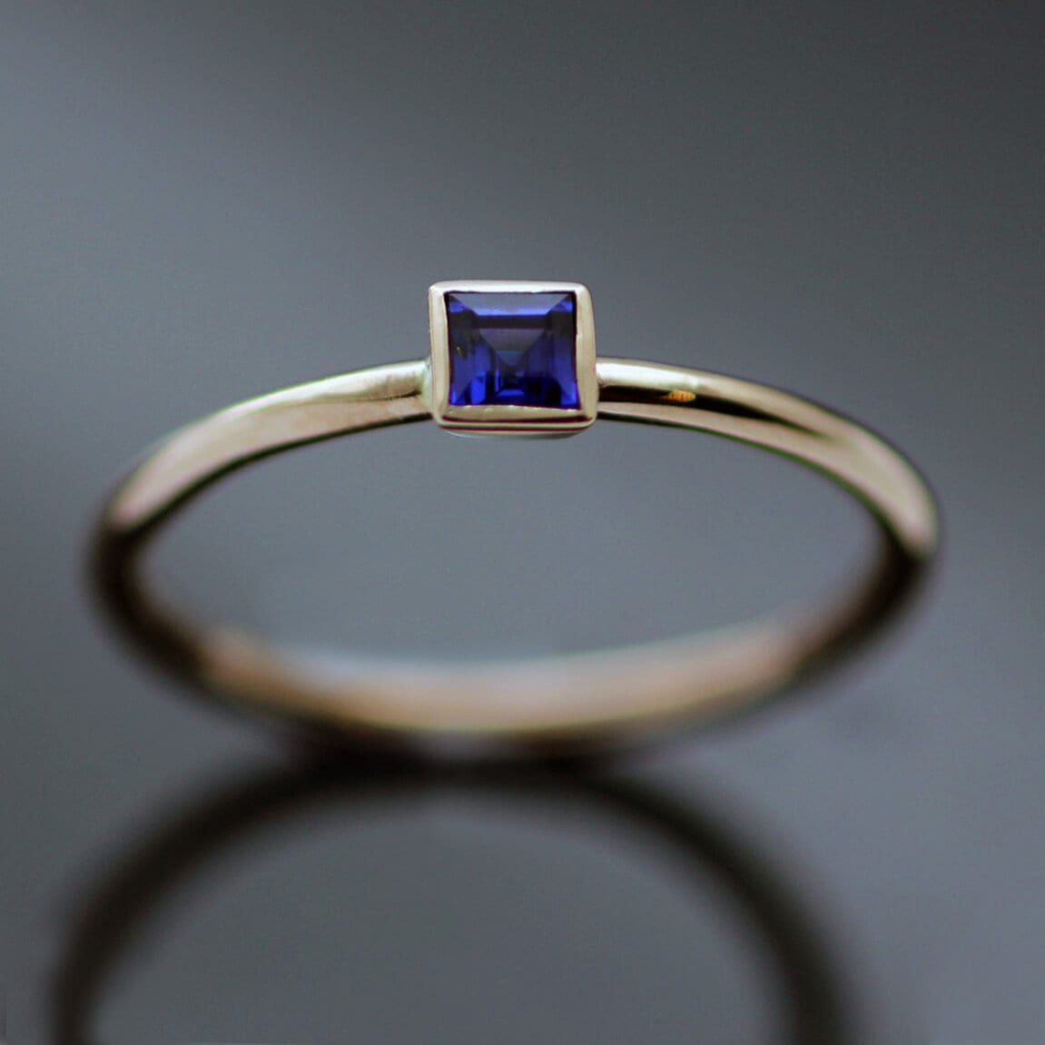 Modern Rose Gold Blue Sapphire handmade stacking ring