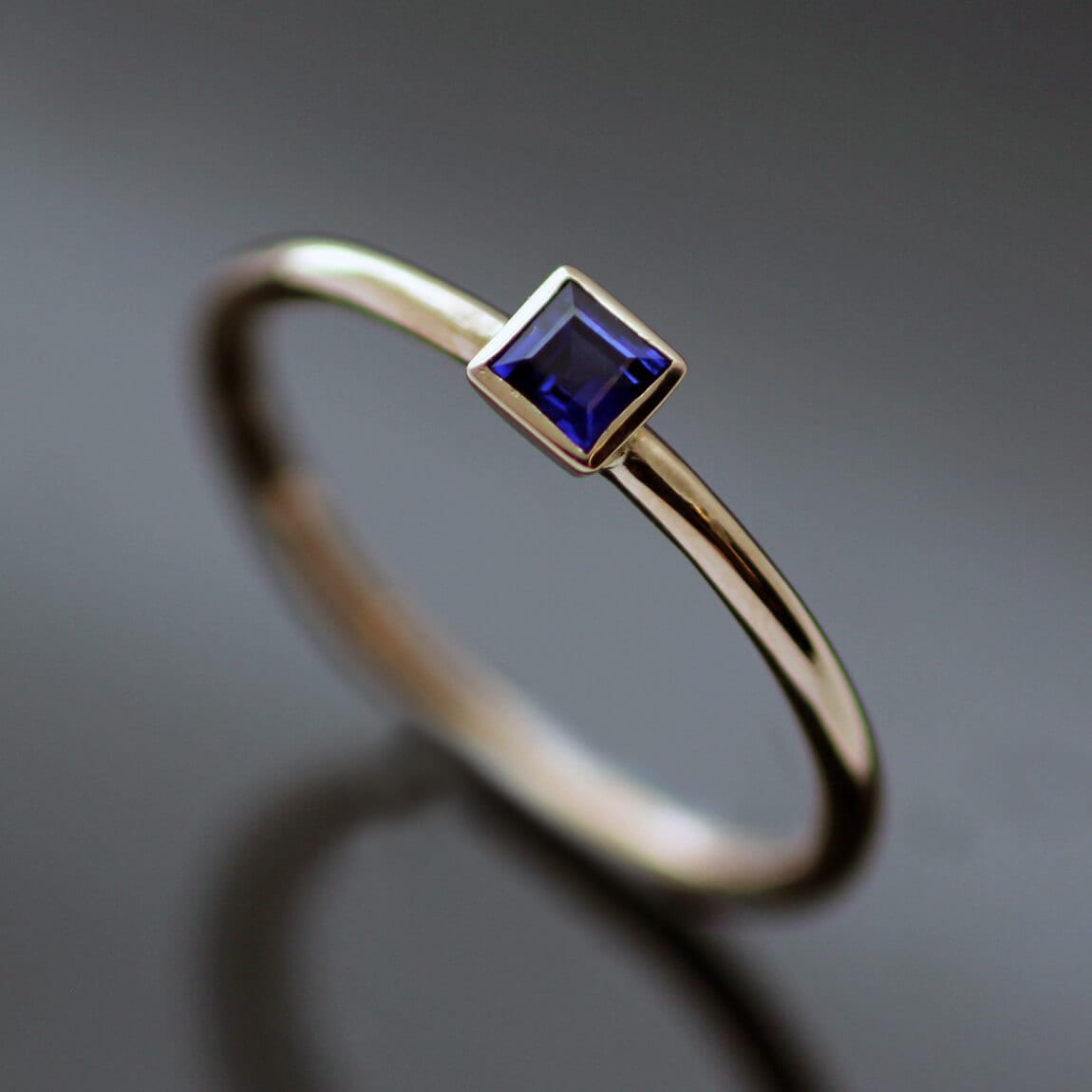 Contemporary stacking ring handmade 18ct Rose Gold Square cut Blue Sapphire