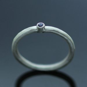 modern silver gemstone ring handmade satin finish