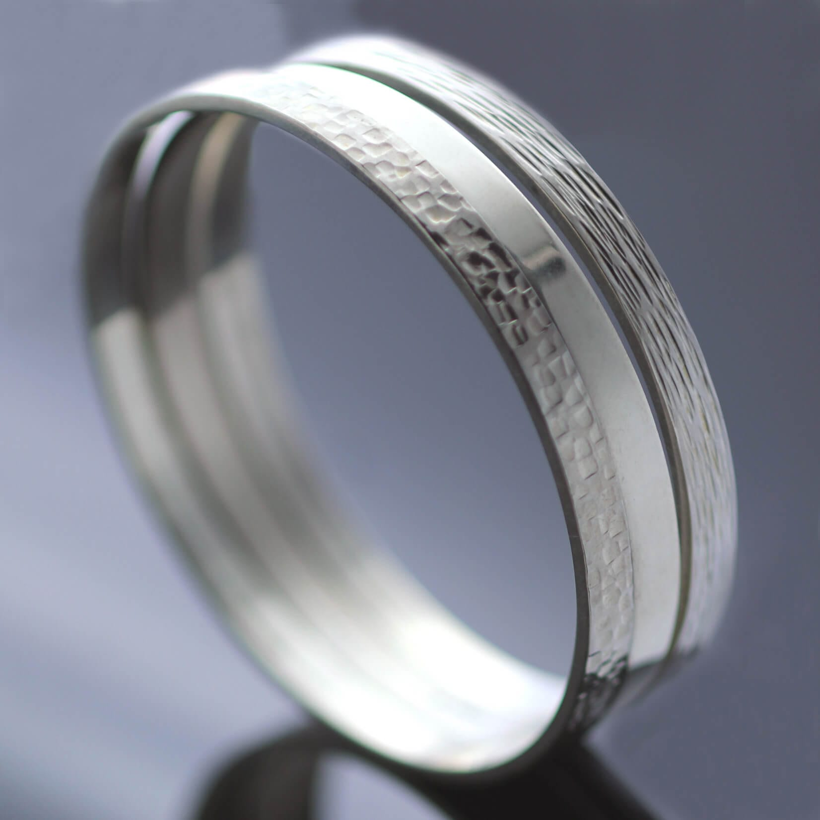 Contemporary Silver stacking bangles handmade textured finish