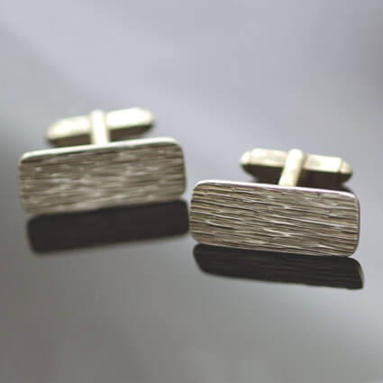 Solid sterling Silver contemporary mens textured cufflinks