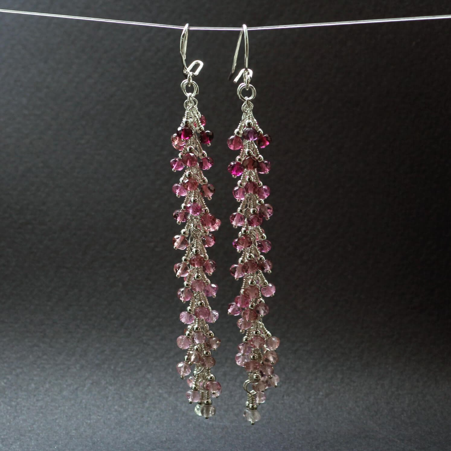 Pink Tourmaline gemstone Sterling Silver earrings handmade unique design