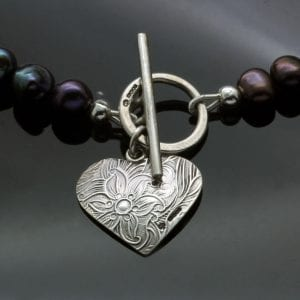Sterling Silver texture heart charm Peacock Pearl necklace handmade