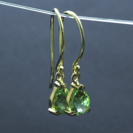 contemporary fine jewellery solid yellow gold tourmaline droplet earrings