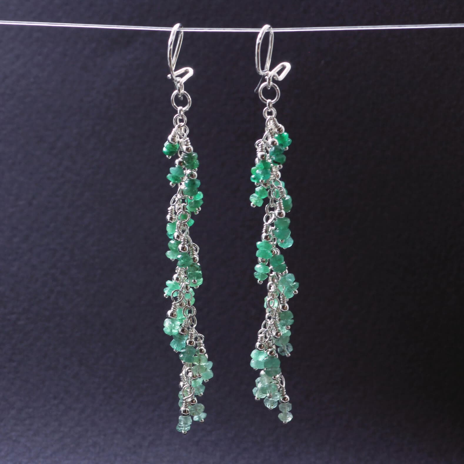 Emerald gemstone Silver earrings, handcrafted by Sophie Saunders.