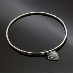 Sterling Silver contemporary bangle heart charm