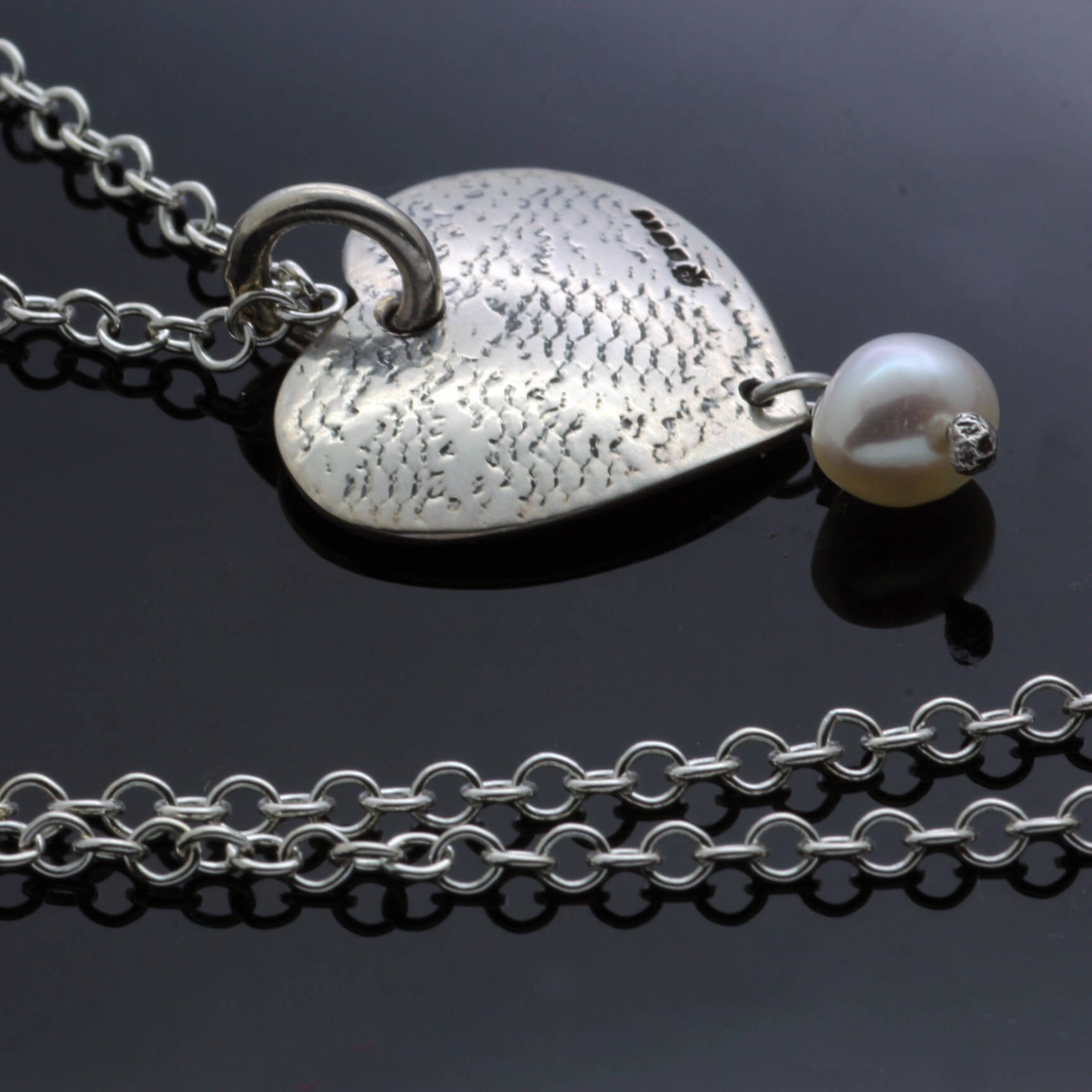 Solid Silver textured heart pearl necklace