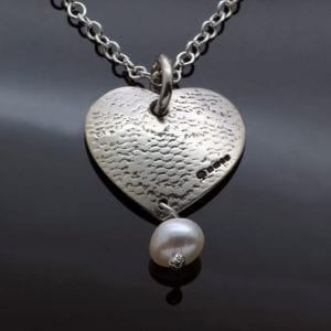Handmade textured heart pendant pearl droplet necklace