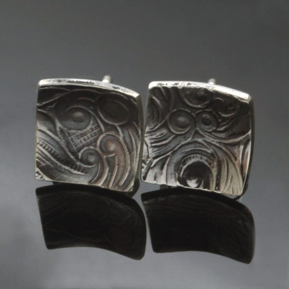 Handcrafted unique silver textured stud earrings