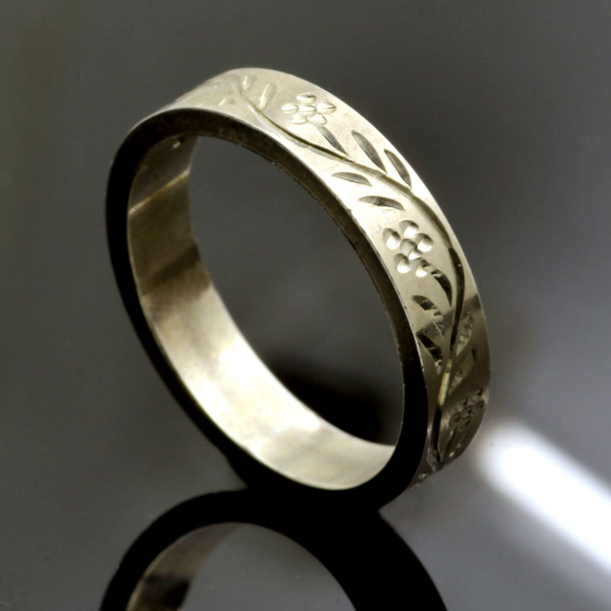 Hand engraved solid sterling silver modern flat ring