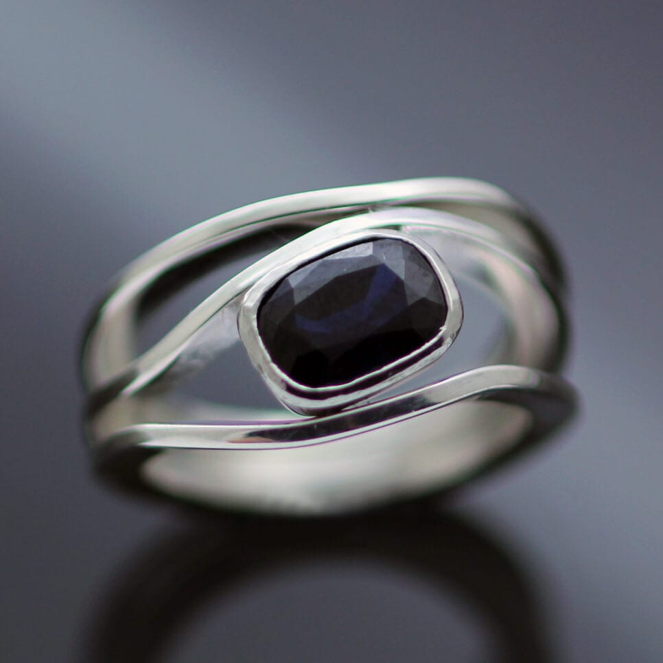 Custom made Sterling Silver Sapphire cocktail ring