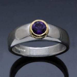 Amethyst gemstone ring yellow gold sterling silver handmade