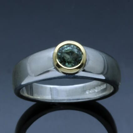 Green Sapphire yellow gold silver contemporary handmade ring