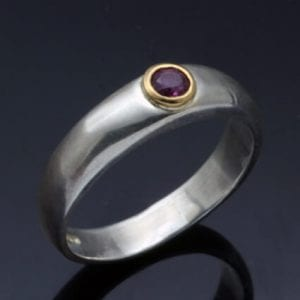 Natural Ruby Yellow Gold Sterling Silver contemporary ring design
