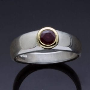 Sterling Silver Yellow gold contemporary handmade ring Thai Ruby