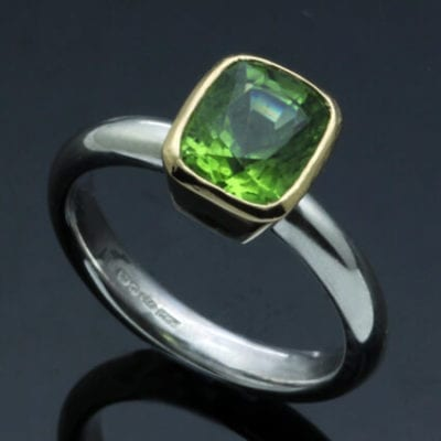 Handmade Peridot birthstone jewellery cocktail ring
