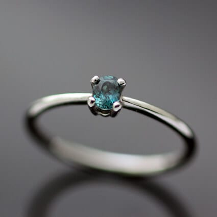 Bespoke Platinum Alexandrite Crysobel engagement ring handmade