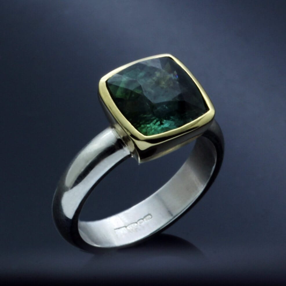Handmade African Tourmaline yellow gold sterling silver modern ring