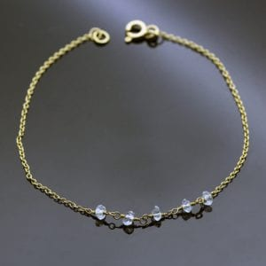 aquamarine gemstone 18ct yellow gold bracelet handmade