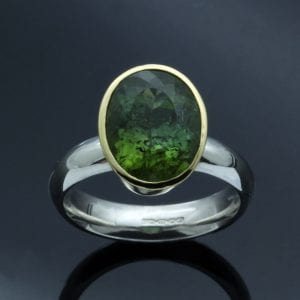 Handmade gemstone jewellery brazilian tourmaline yellow gold ring