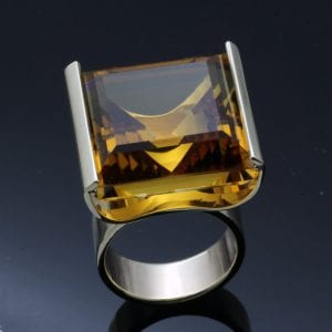 handcrafted cocktail statement ring citrine gemstone silver