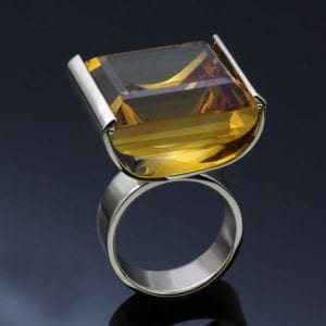 square cut citrine silver cocktail ring handmade