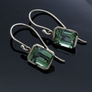 handmade 14ct white gold green tourmaline birthstone jewellery