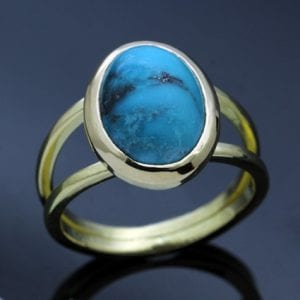 solid yellow gold turquoise unique modern ring
